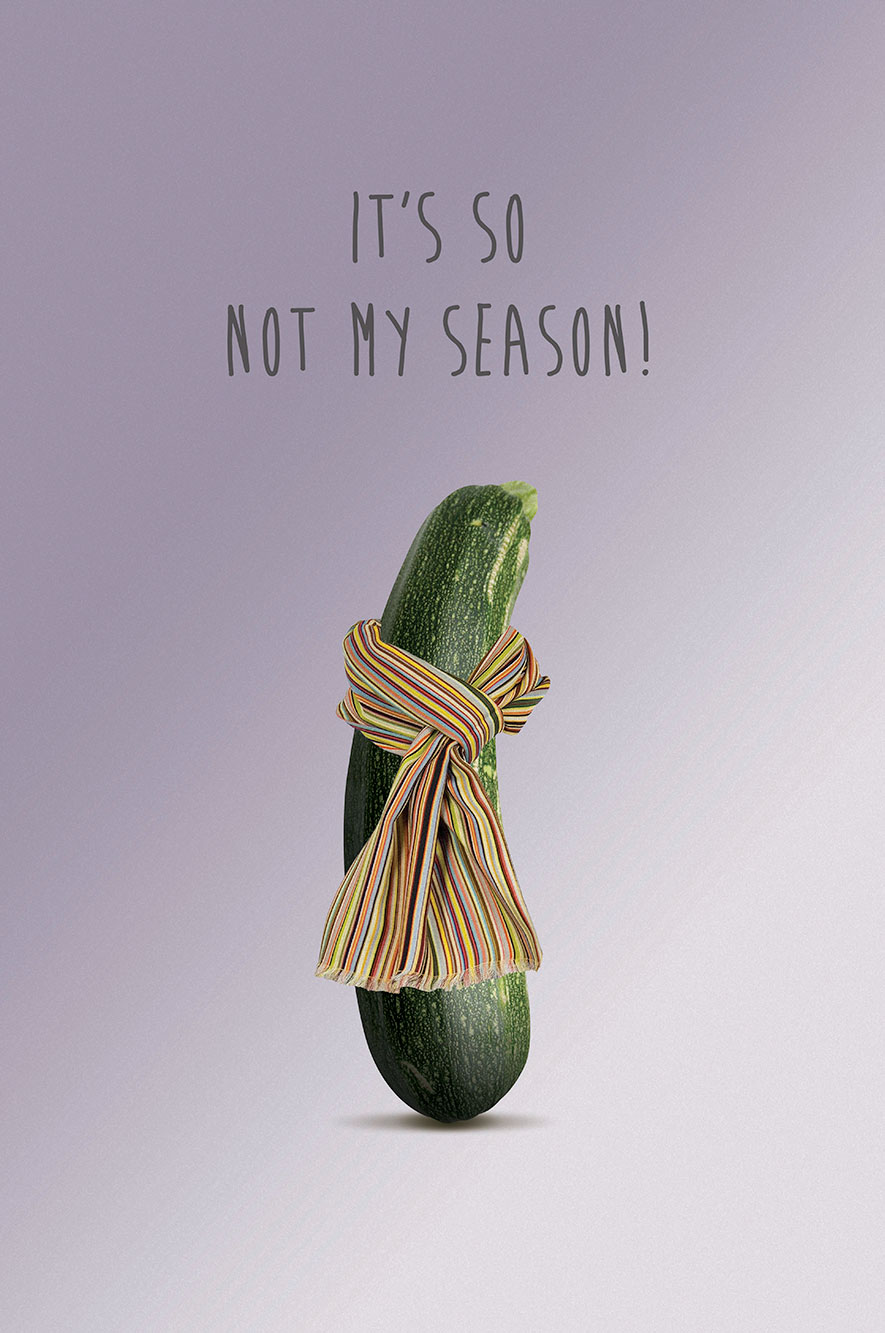 Do The Green Thing courgette with a scarf
