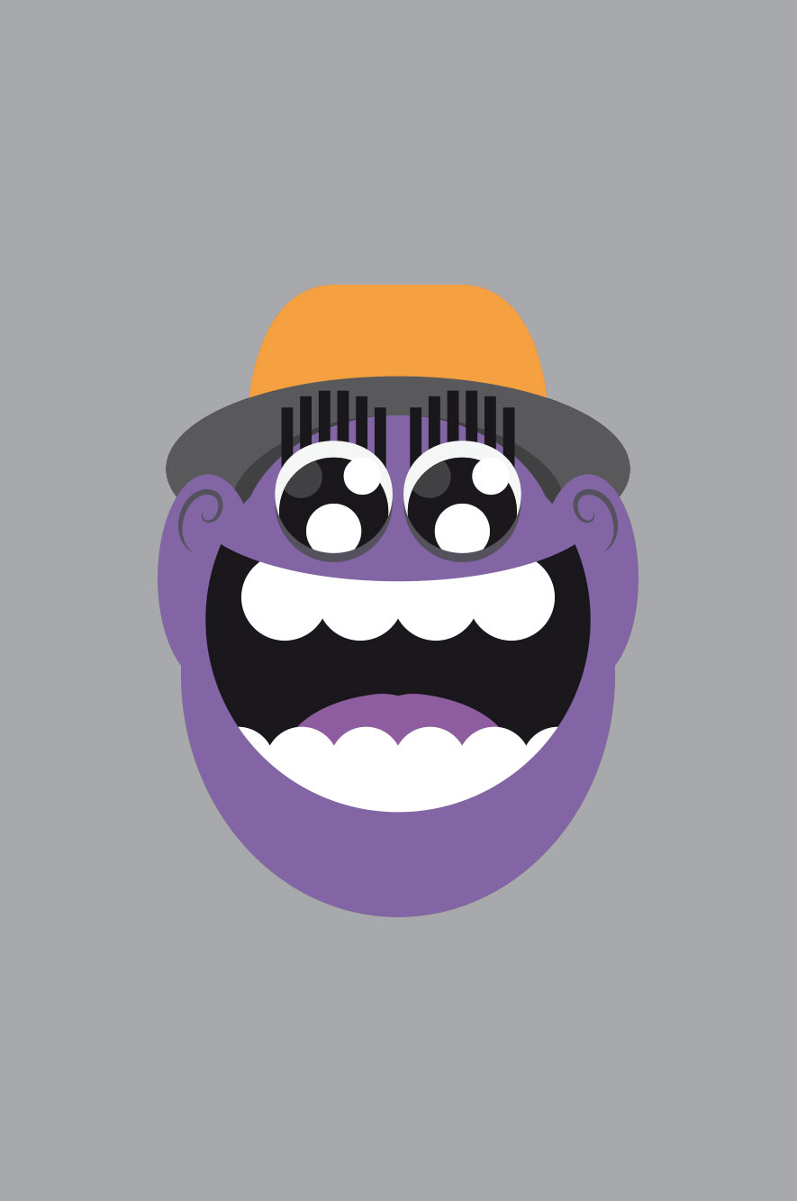 WeDesign illustration of laughing face in purple