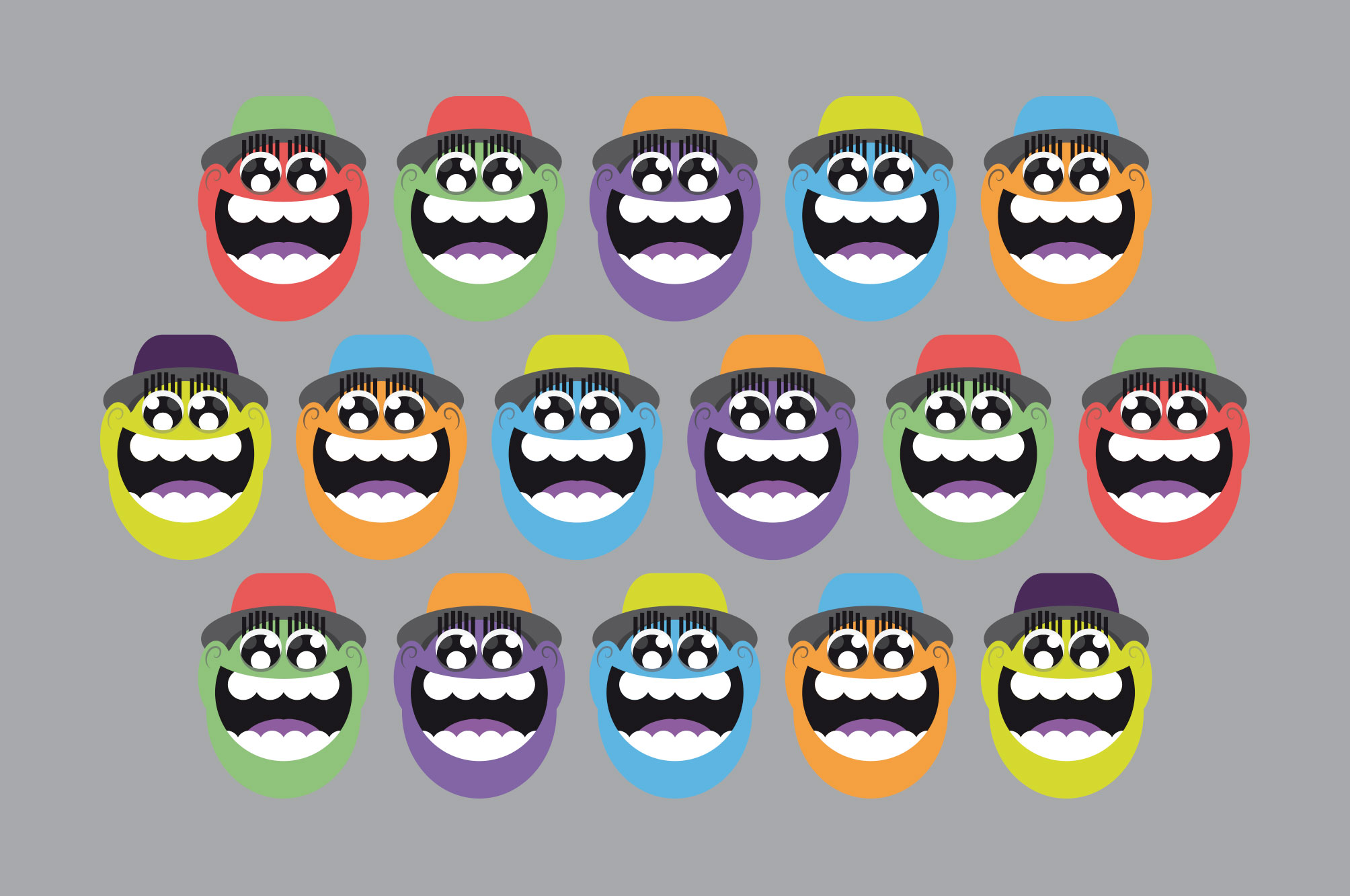 WeDesign yo illustration faces in a line