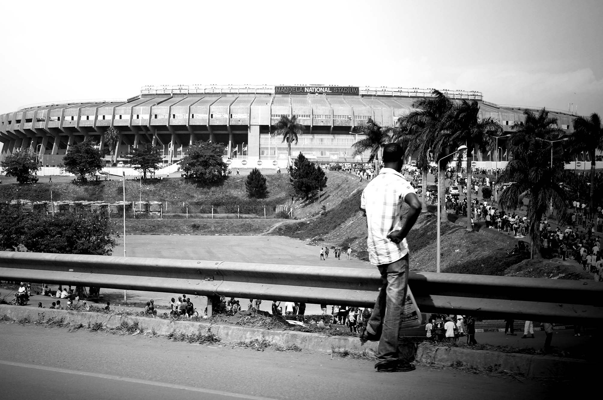Mandela National Stadium, man looking out at the crowds