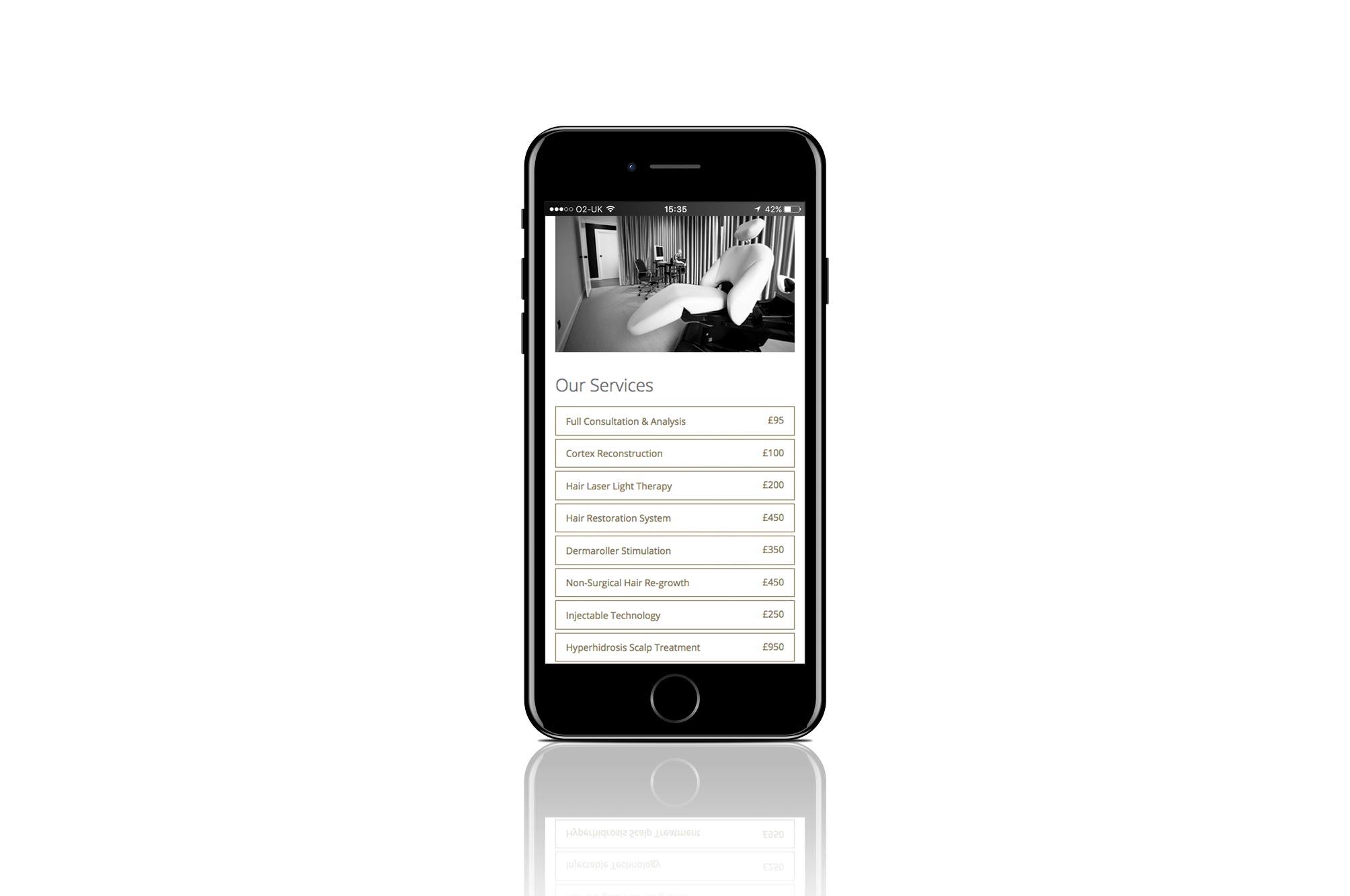 2122 Hair Medica iPhone Website