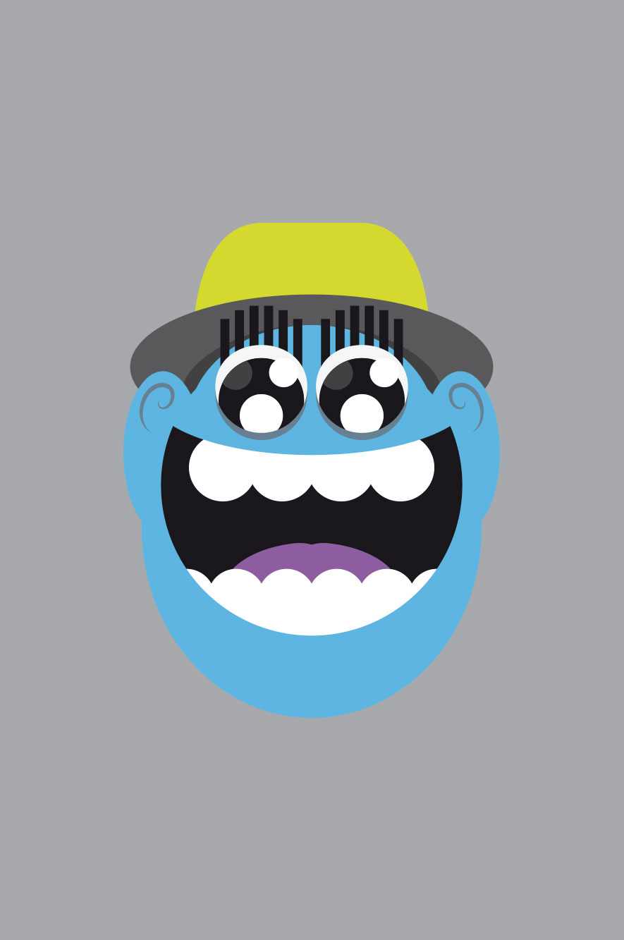 WeDesign illustration of laughing face in blue