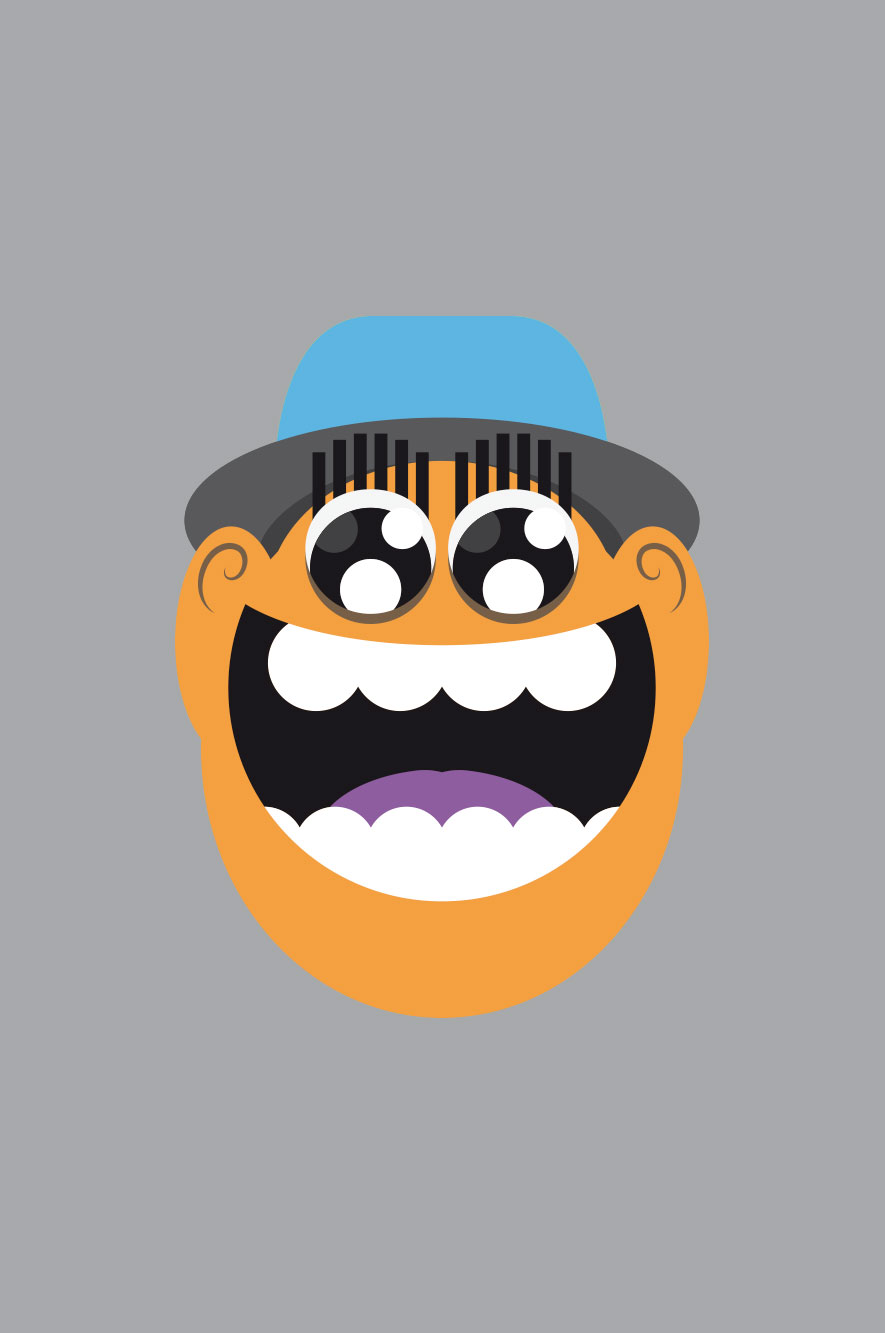 WeDesign illustration of laughing face in orange