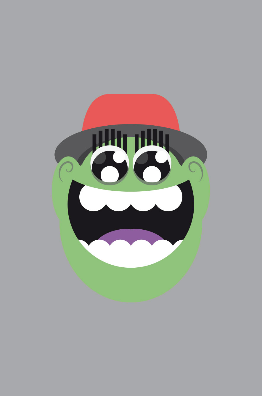 WeDesign illustration of laughing face in green