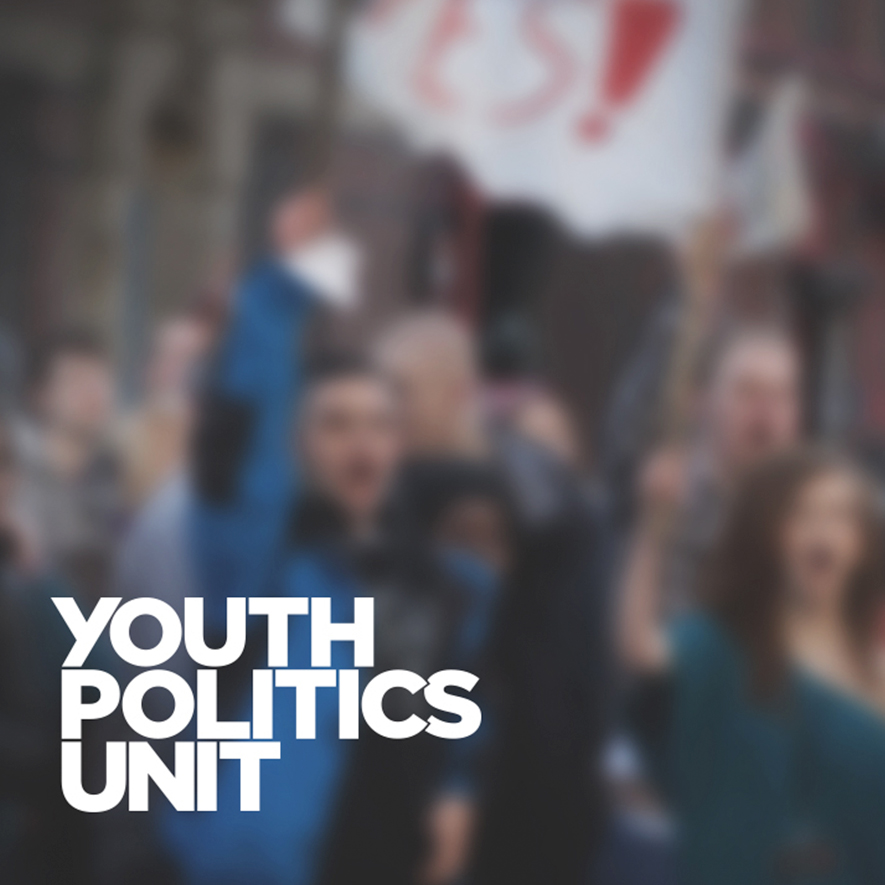Youth Politics Unit logo on colour background