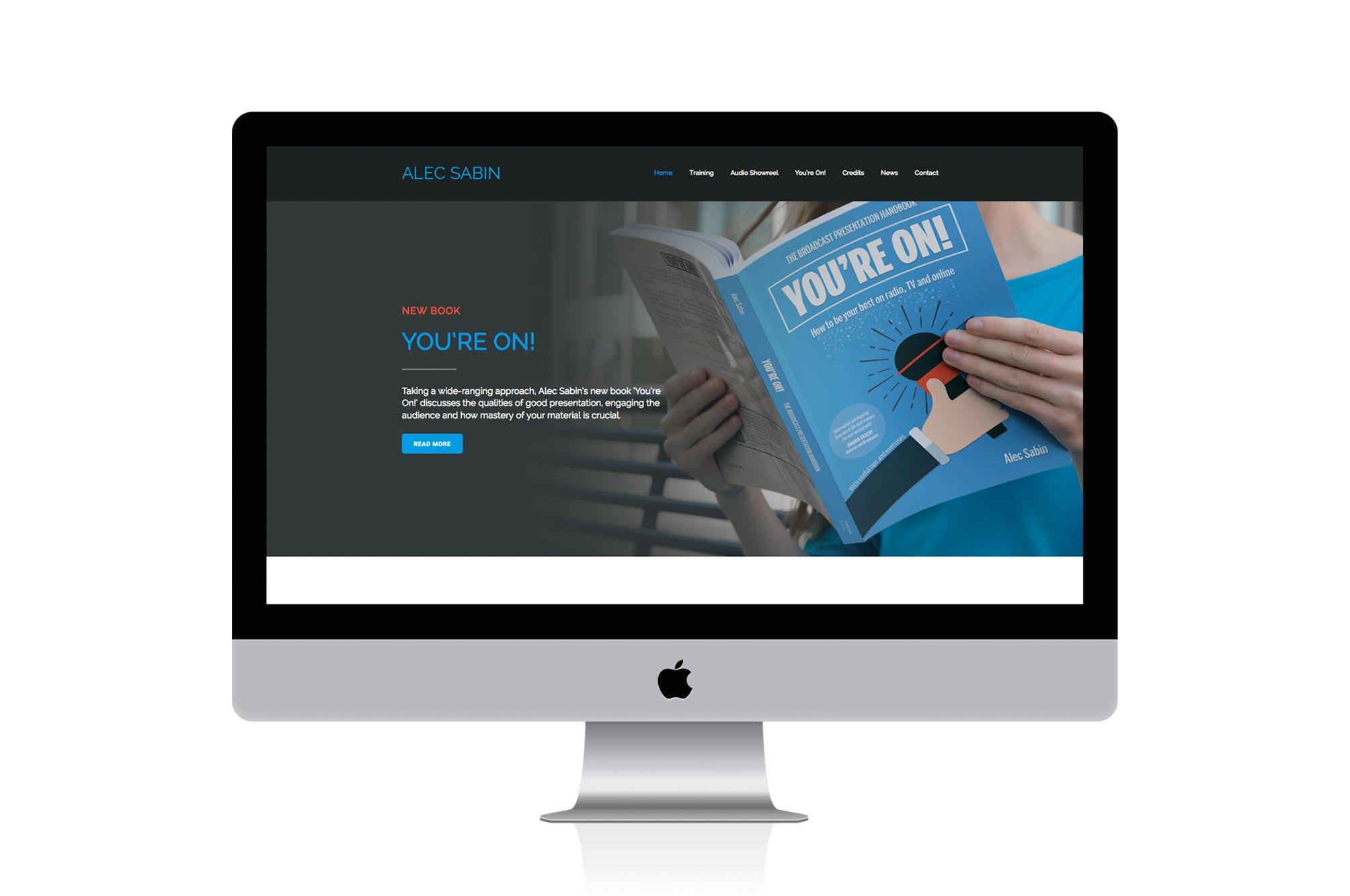 Alec Sabin Website Home Page on an iMac
