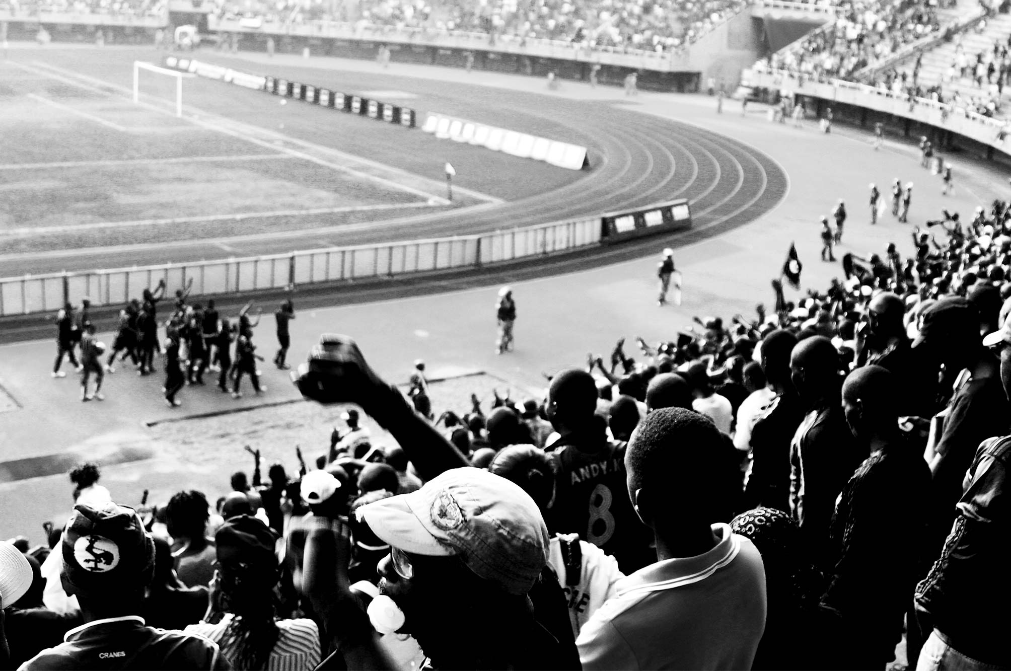 Mandela National Stadium playing football. Uganda winning against Kenya